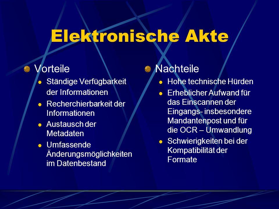 Elektronische Akte Vorteile Nachteile
