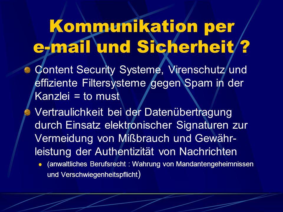 Kommunikation per e-mail und Sicherheit