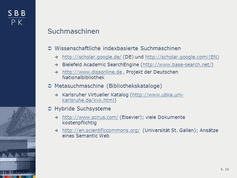 Suchmaschinen Wissenschaftliche indexbasierte Suchmaschinen