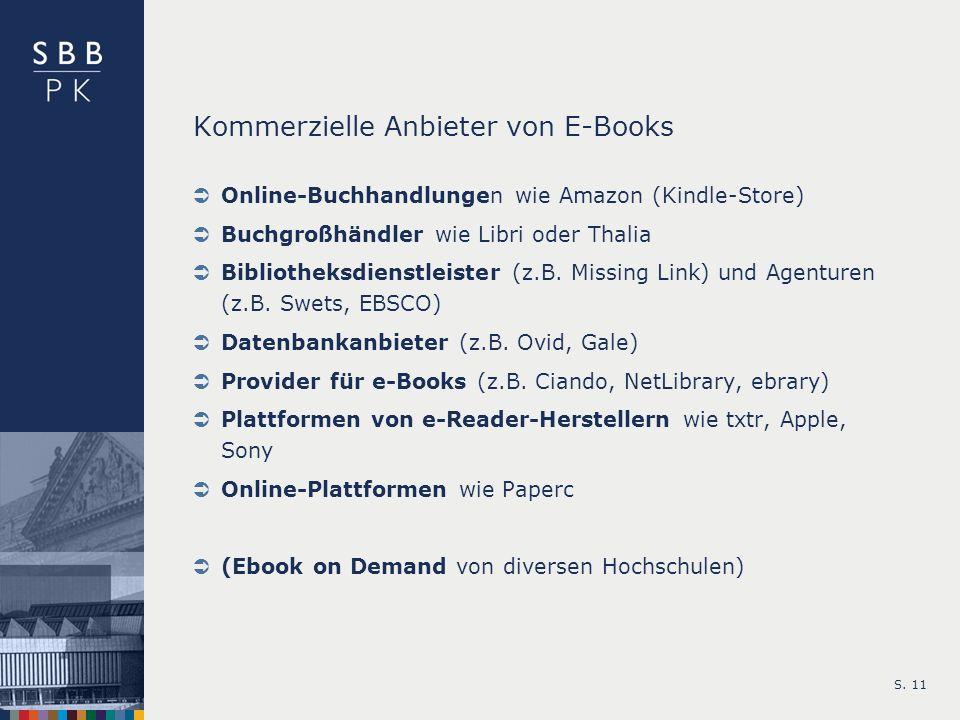 Kommerzielle Anbieter von E-Books