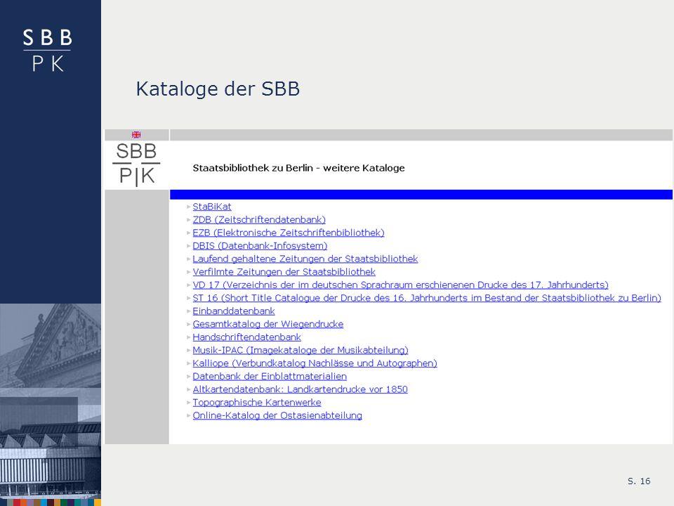 Kataloge der SBB