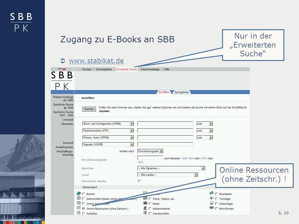 Zugang zu E-Books an SBB