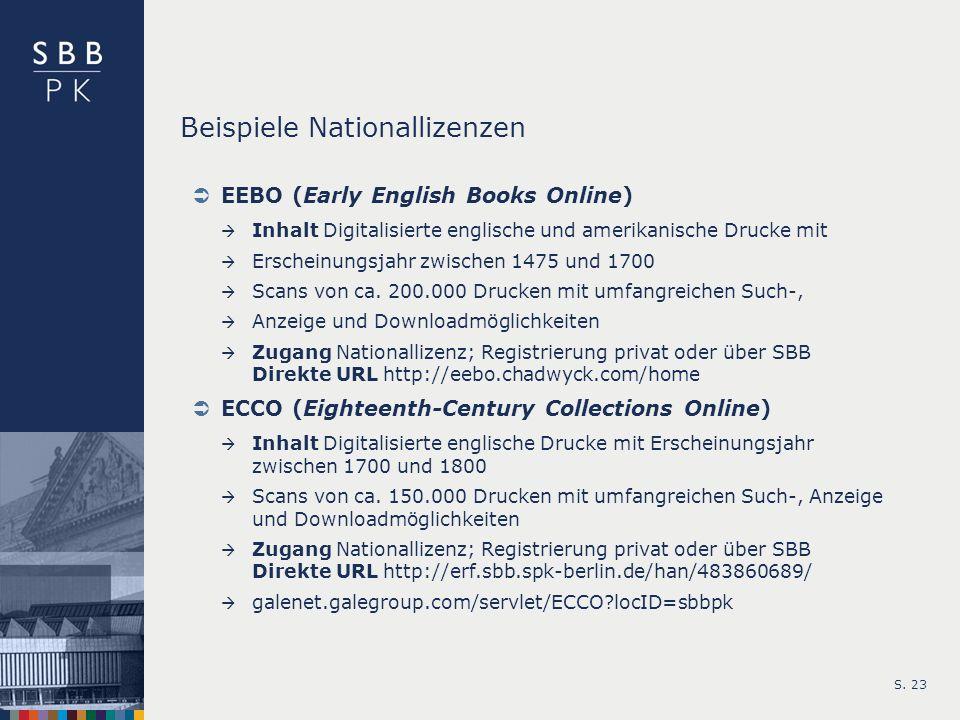 Beispiele Nationallizenzen