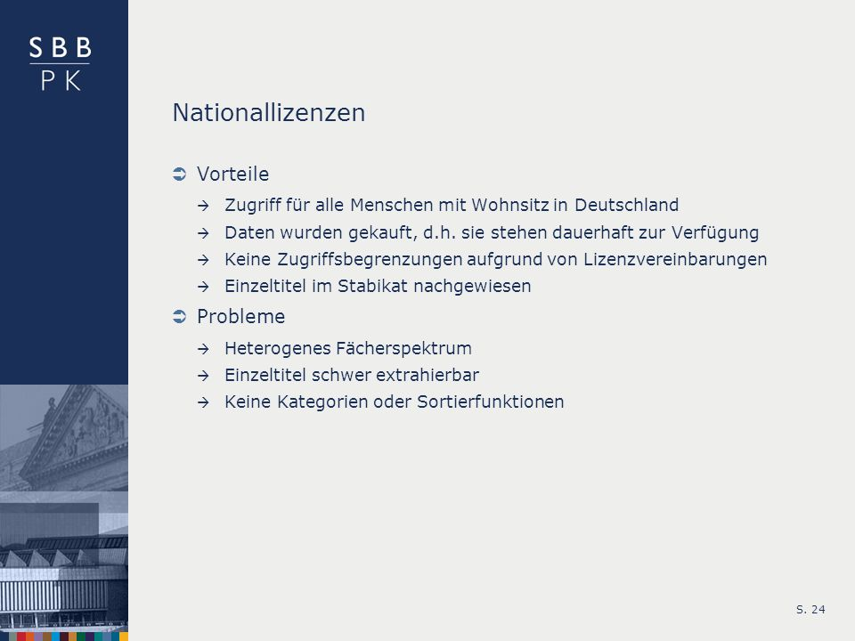 Nationallizenzen Vorteile Probleme