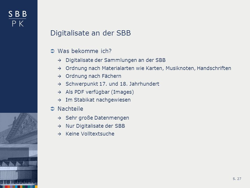 Digitalisate an der SBB