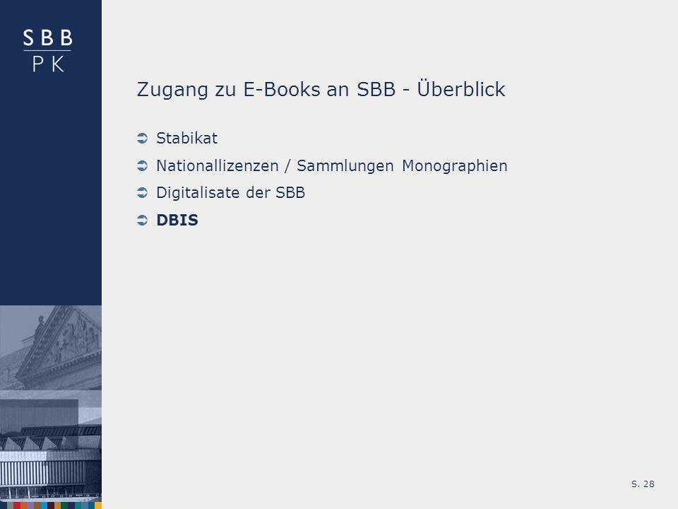 Zugang zu E-Books an SBB - Überblick