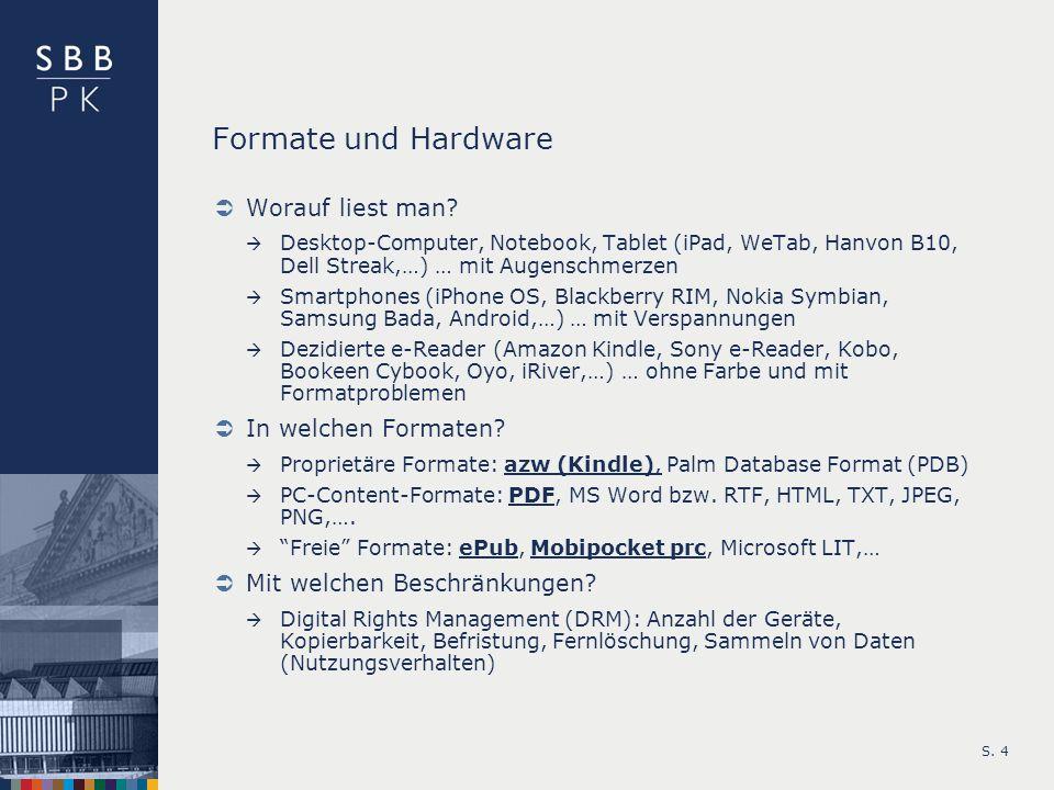 Formate und Hardware Worauf liest man In welchen Formaten