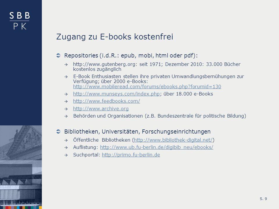 Zugang zu E-books kostenfrei