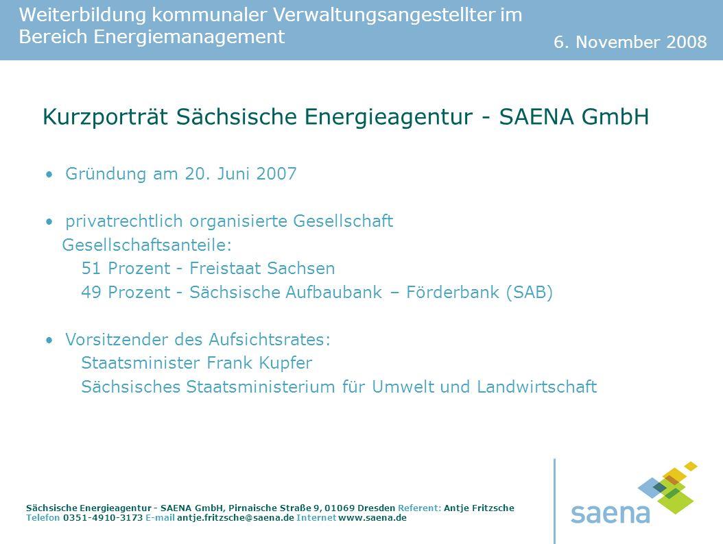 Kurzporträt Sächsische Energieagentur - SAENA GmbH
