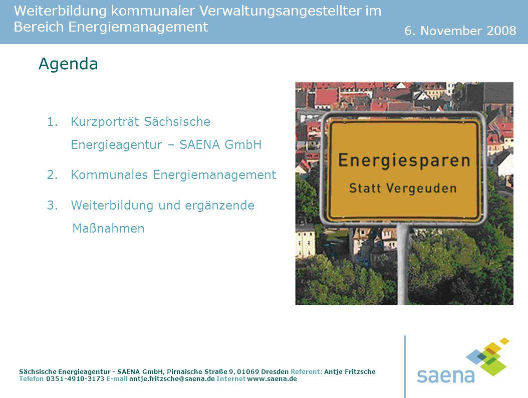 Agenda Kurzporträt Sächsische Energieagentur – SAENA GmbH