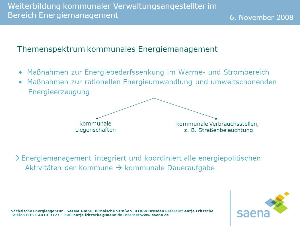 Themenspektrum kommunales Energiemanagement