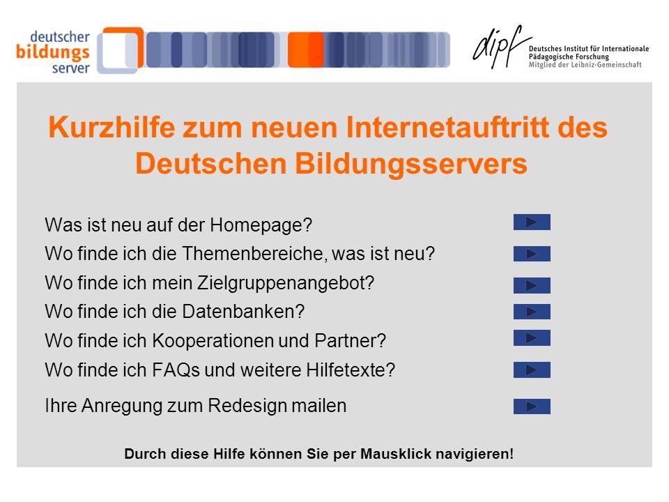 Kurzhilfe zum neuen Internetauftritt des Deutschen Bildungsservers