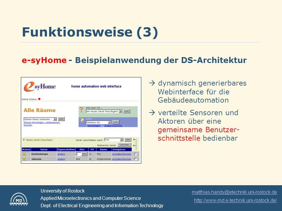 Funktionsweise (3) e-syHome - Beispielanwendung der DS-Architektur