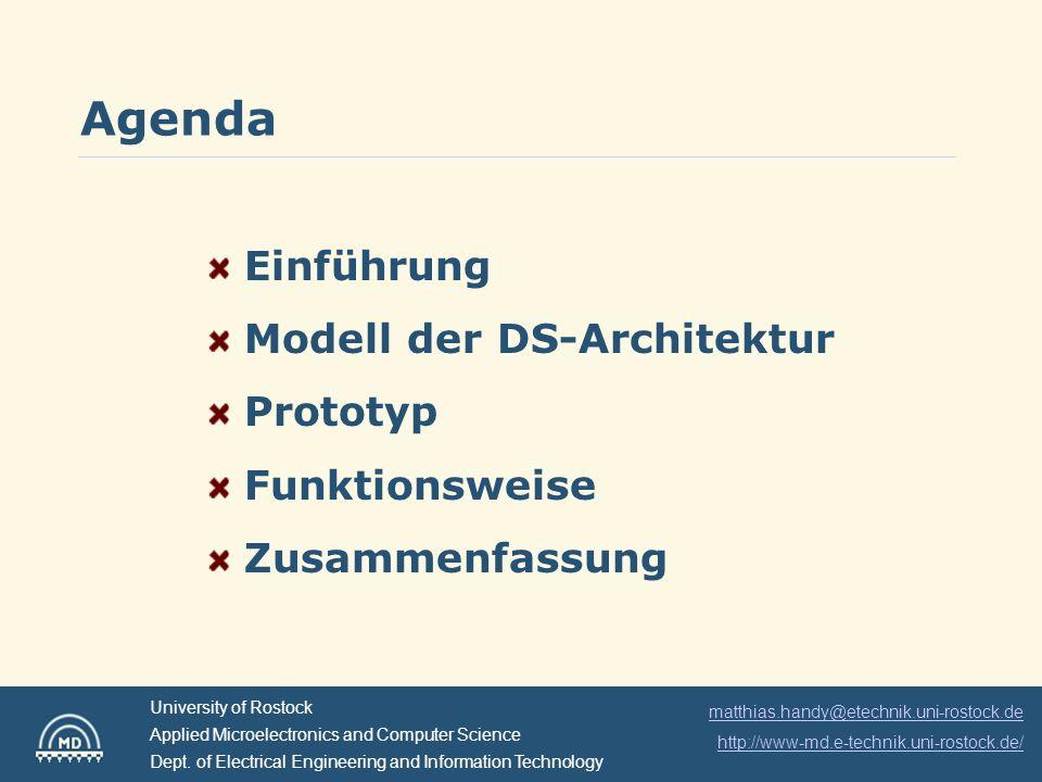 Agenda Einführung Modell der DS-Architektur Prototyp Funktionsweise