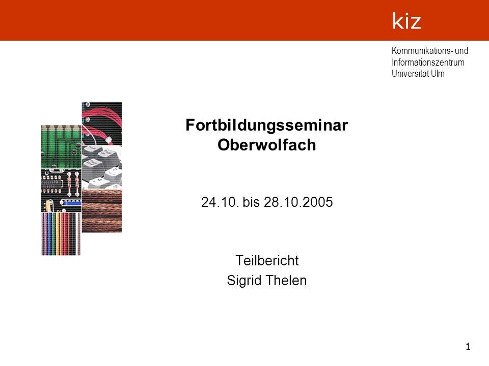 Fortbildungsseminar Oberwolfach