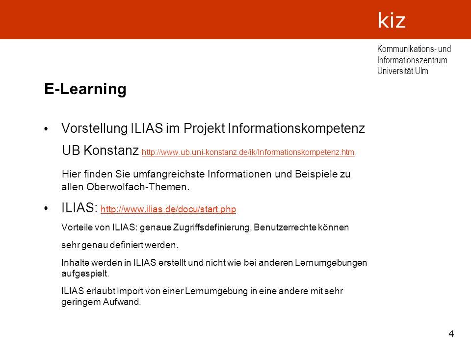 E-Learning Vorstellung ILIAS im Projekt Informationskompetenz