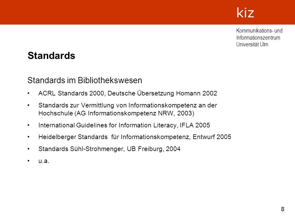 Standards Standards im Bibliothekswesen