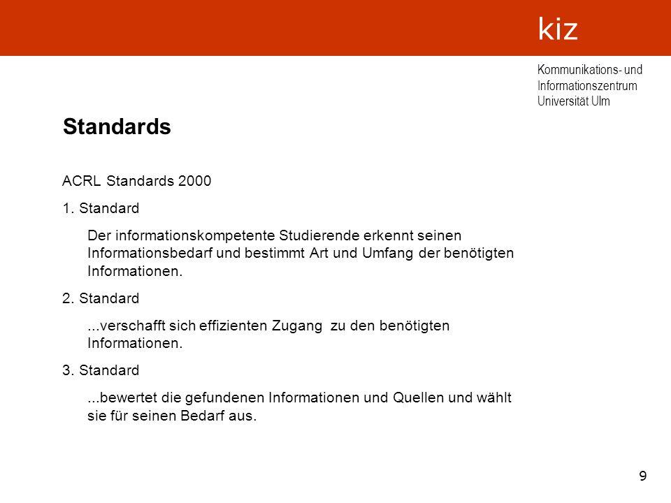 Standards ACRL Standards 2000 1. Standard