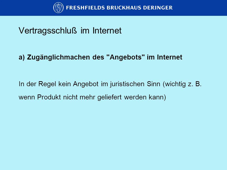 Vertragsschluß im Internet