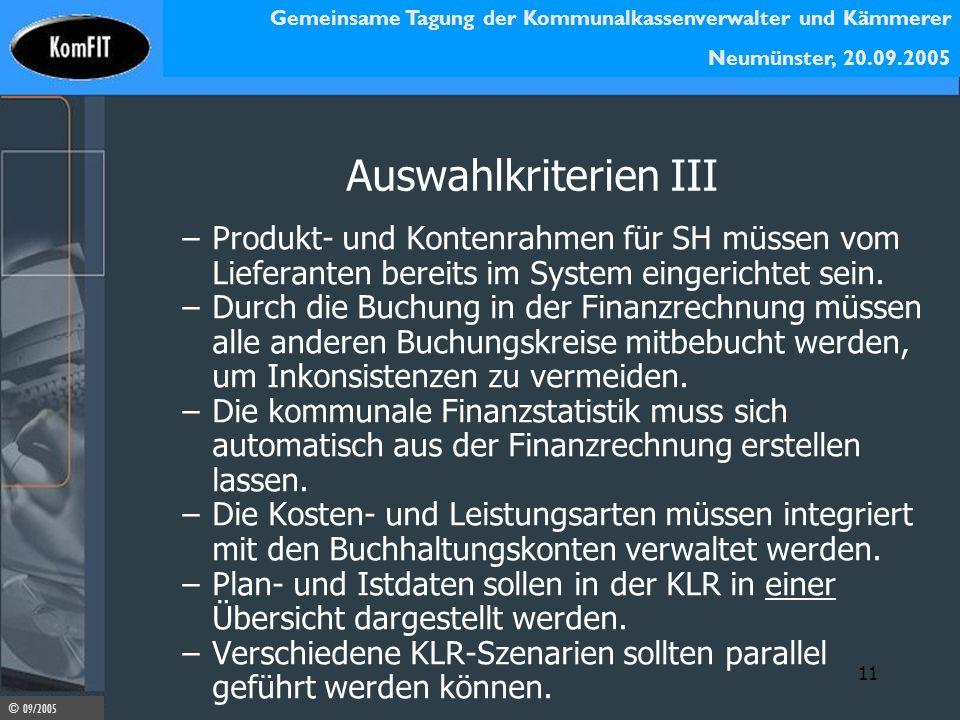 Auswahlkriterien III Produkt- und Kontenrahmen für SH müssen vom Lieferanten bereits im System eingerichtet sein.