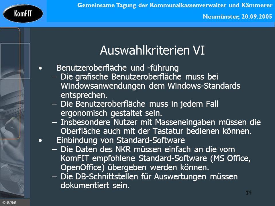 Auswahlkriterien VI Benutzeroberfläche und -führung