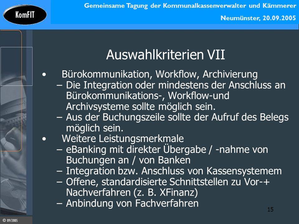 Auswahlkriterien VII Bürokommunikation, Workflow, Archivierung