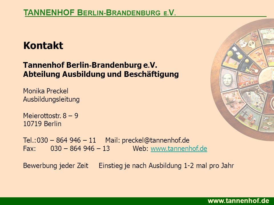 Kontakt TANNENHOF BERLIN-BRANDENBURG E.V.