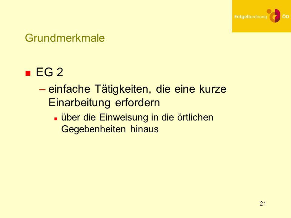 25.03.2017 Grundmerkmale. EG 2. einfache Tätigkeiten, die eine kurze Einarbeitung erfordern.