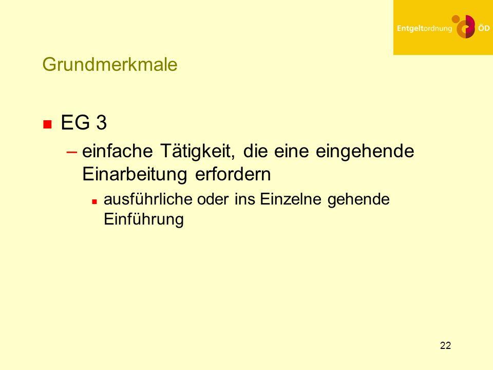 25.03.2017Grundmerkmale. EG 3. einfache Tätigkeit, die eine eingehende Einarbeitung erfordern. ausführliche oder ins Einzelne gehende Einführung.