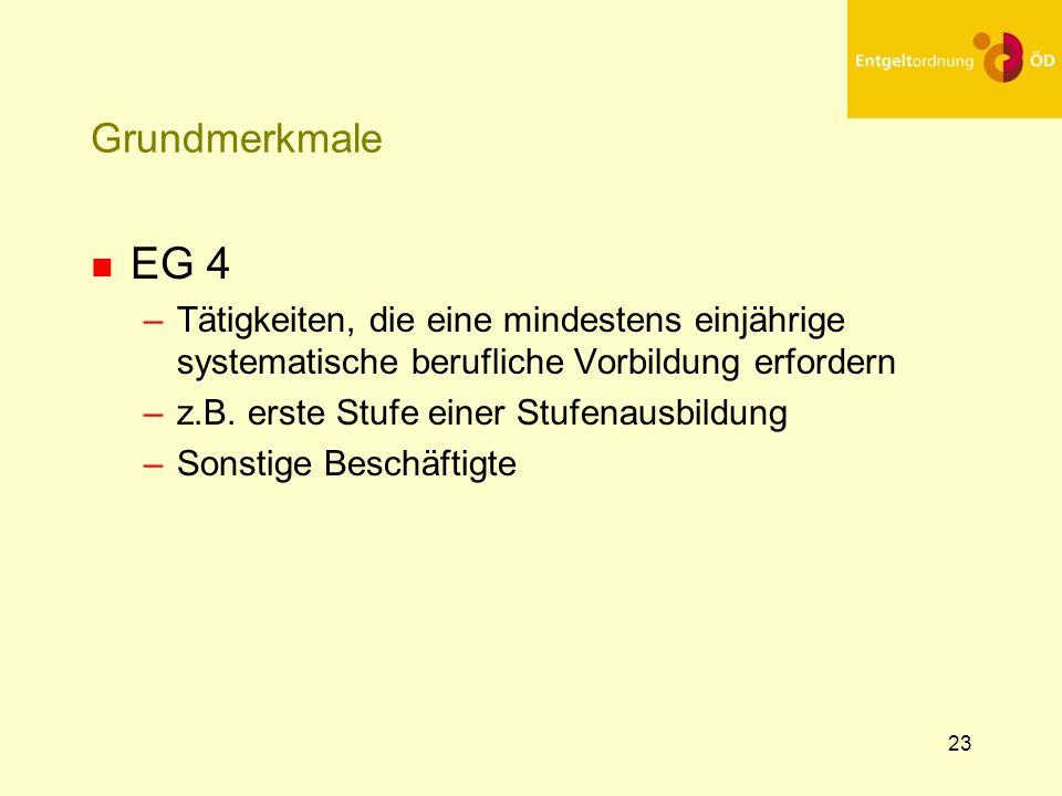 25.03.2017 Grundmerkmale. EG 4. Tätigkeiten, die eine mindestens einjährige systematische berufliche Vorbildung erfordern.