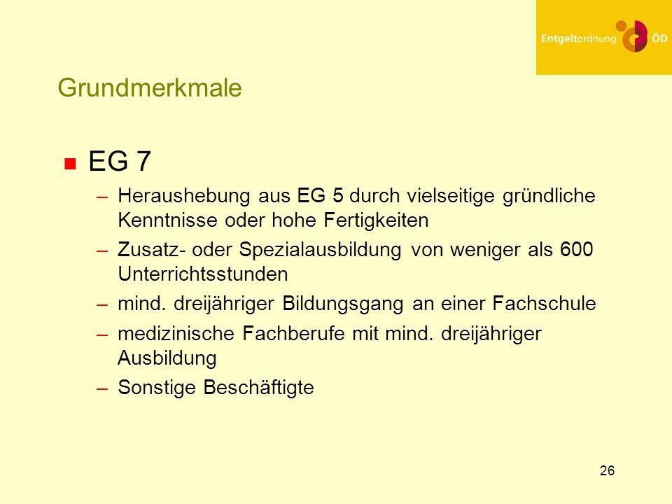 25.03.2017Grundmerkmale. EG 7. Heraushebung aus EG 5 durch vielseitige gründliche Kenntnisse oder hohe Fertigkeiten.
