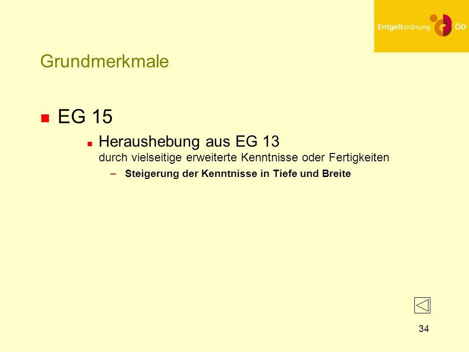 25.03.2017Grundmerkmale. EG 15. Heraushebung aus EG 13 durch vielseitige erweiterte Kenntnisse oder Fertigkeiten.