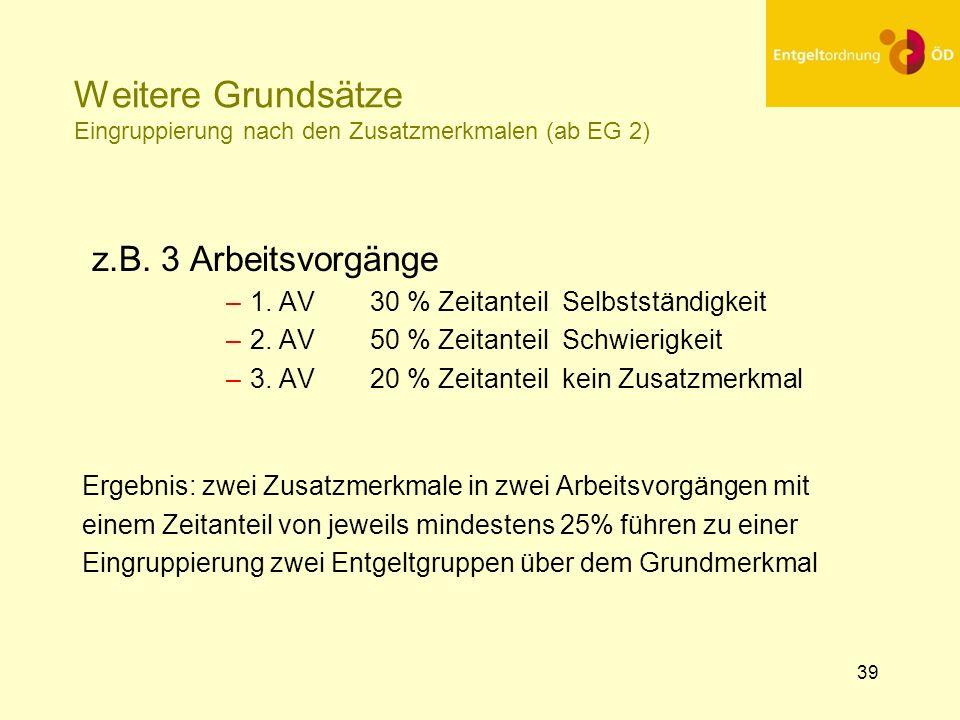 Weitere Grundsätze Eingruppierung nach den Zusatzmerkmalen (ab EG 2)