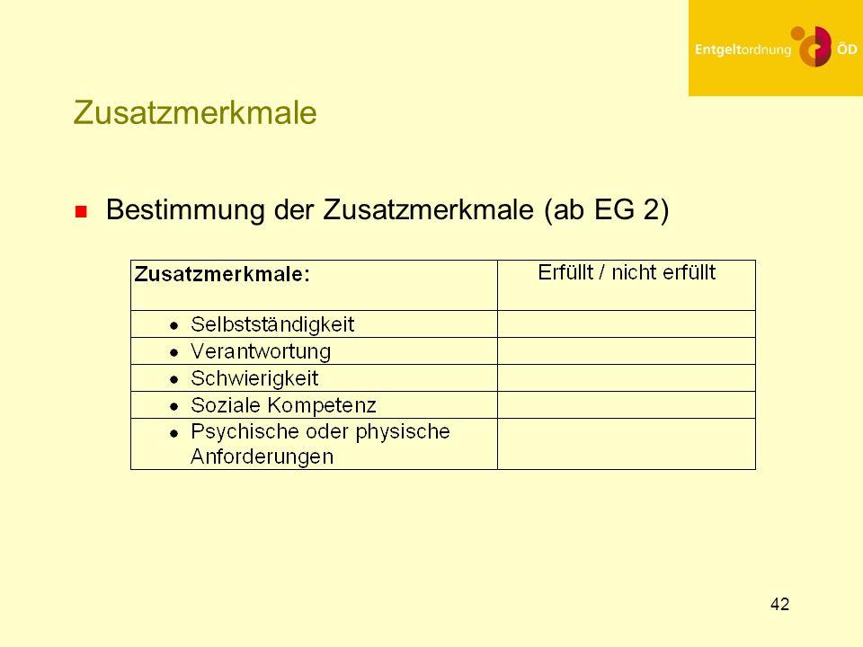 25.03.2017 Zusatzmerkmale Bestimmung der Zusatzmerkmale (ab EG 2)