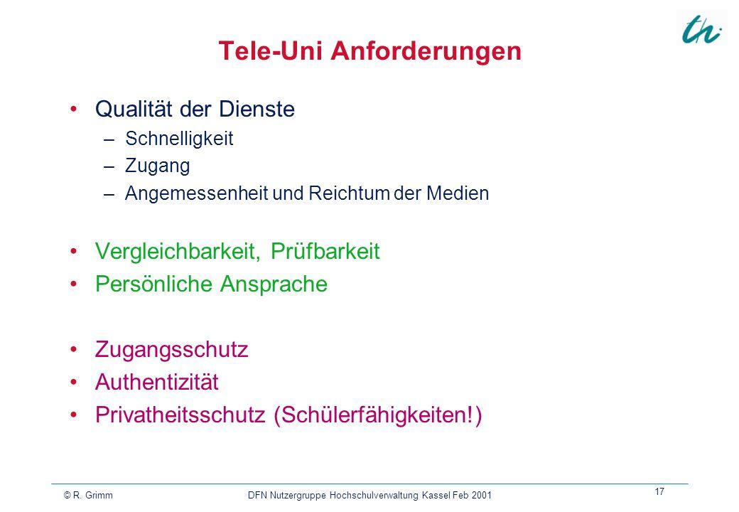 Tele-Uni Anforderungen