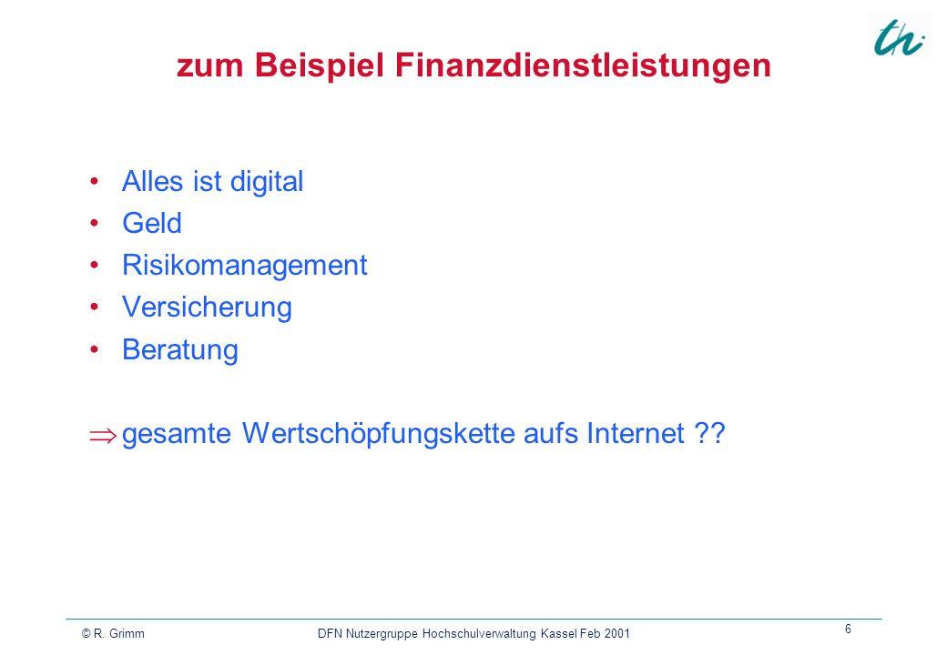 zum Beispiel Finanzdienstleistungen