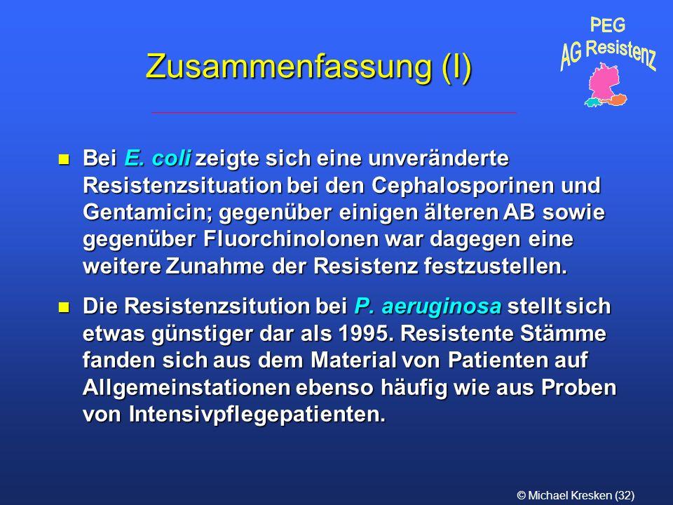 PEG AG Resistenz. Zusammenfassung (I)