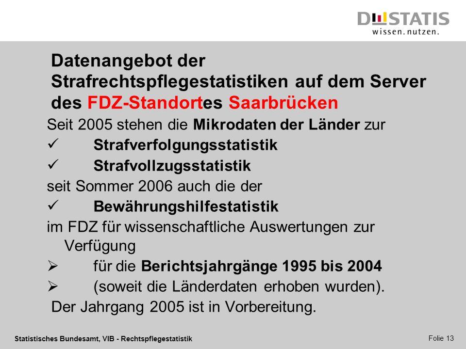 Datenangebot der Strafrechtspflegestatistiken auf dem Server des FDZ-Standortes Saarbrücken
