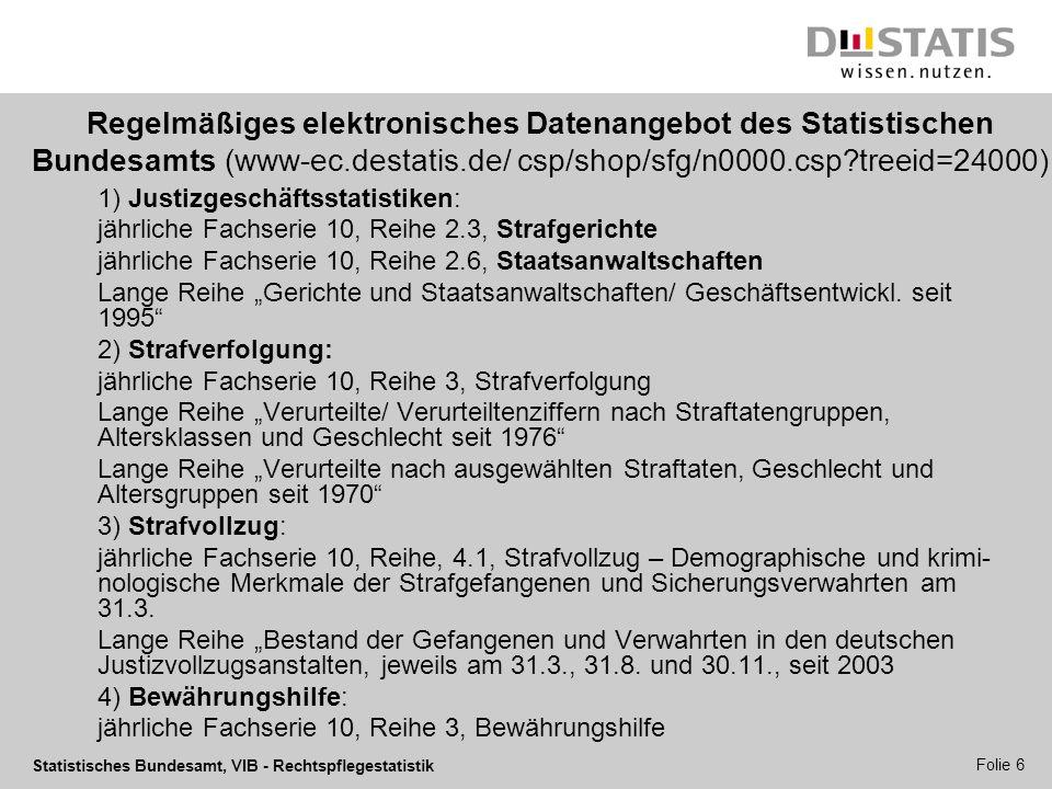 Regelmäßiges elektronisches Datenangebot des Statistischen Bundesamts (www-ec.destatis.de/ csp/shop/sfg/n0000.csp treeid=24000)