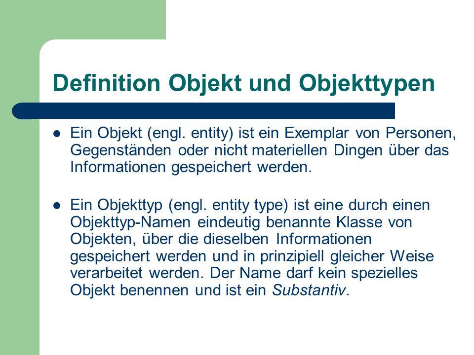 Definition Objekt und Objekttypen