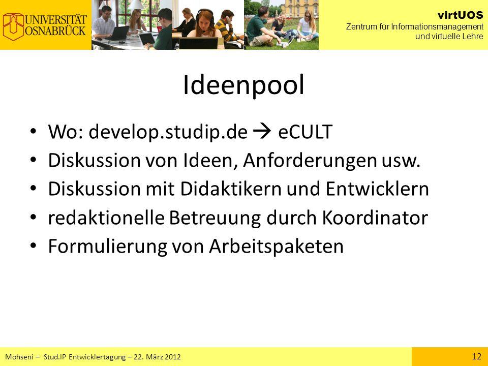 Ideenpool Wo: develop.studip.de  eCULT