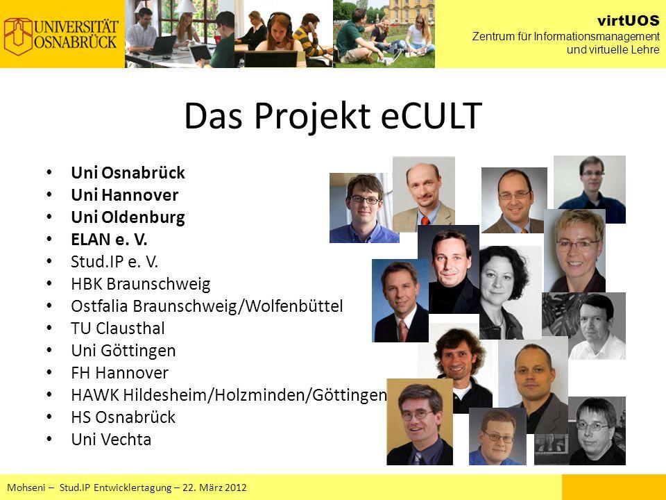 Das Projekt eCULT Uni Osnabrück Uni Hannover Uni Oldenburg ELAN e. V.