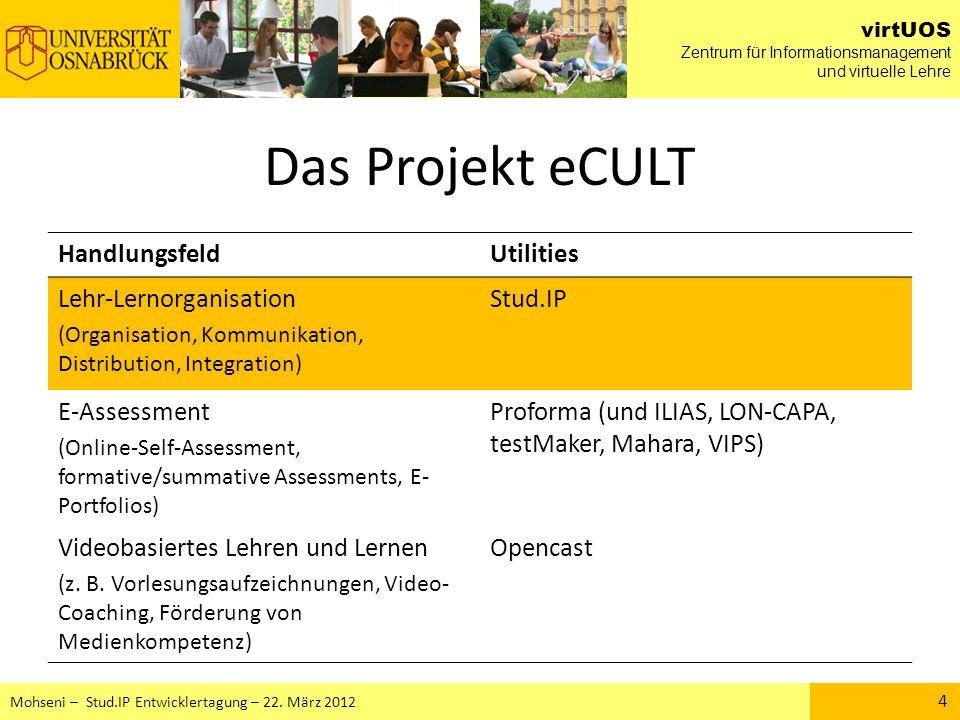 Das Projekt eCULT Handlungsfeld Utilities Lehr-Lernorganisation