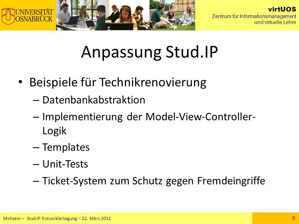 Anpassung Stud.IP Beispiele für Technikrenovierung
