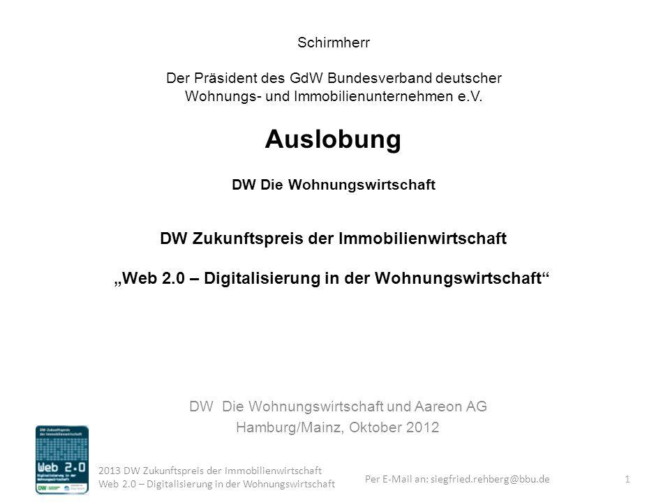 DW Die Wohnungswirtschaft und Aareon AG Hamburg/Mainz, Oktober 2012