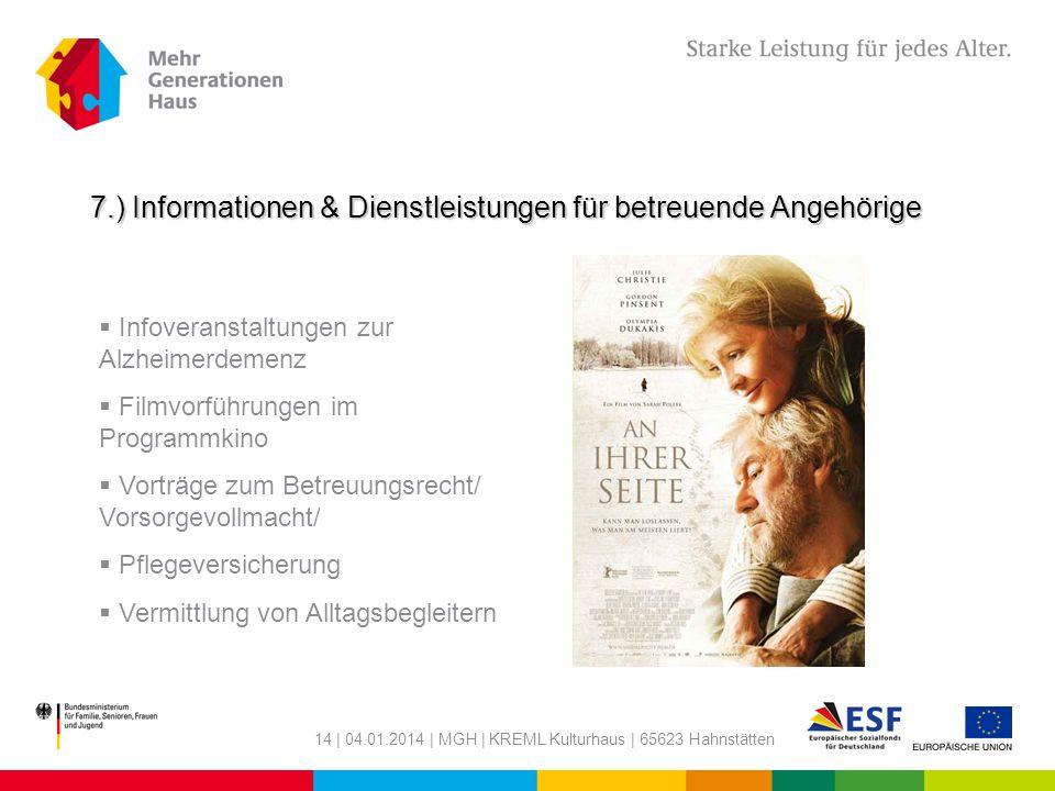 7.) Informationen & Dienstleistungen für betreuende Angehörige