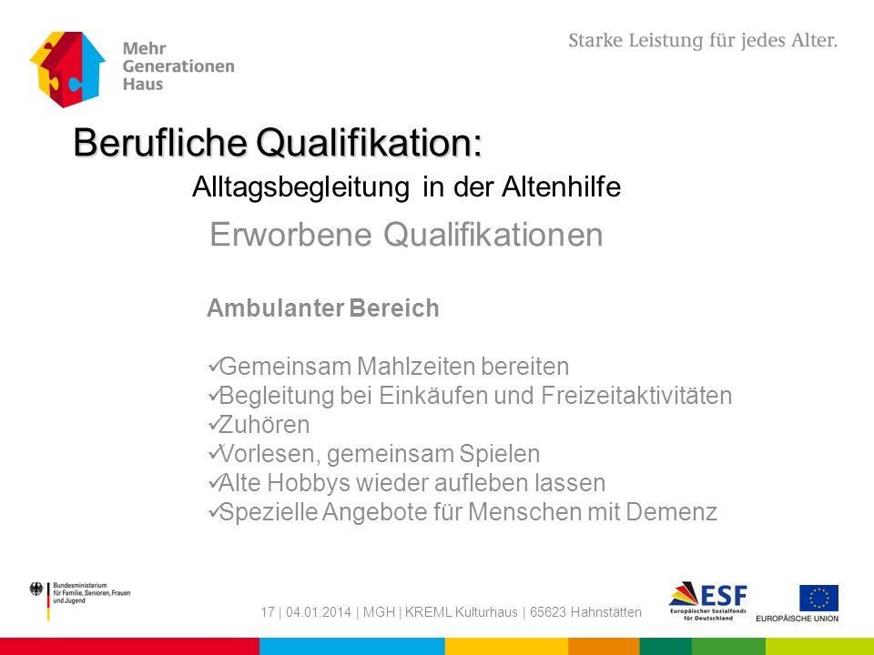Berufliche Qualifikation: