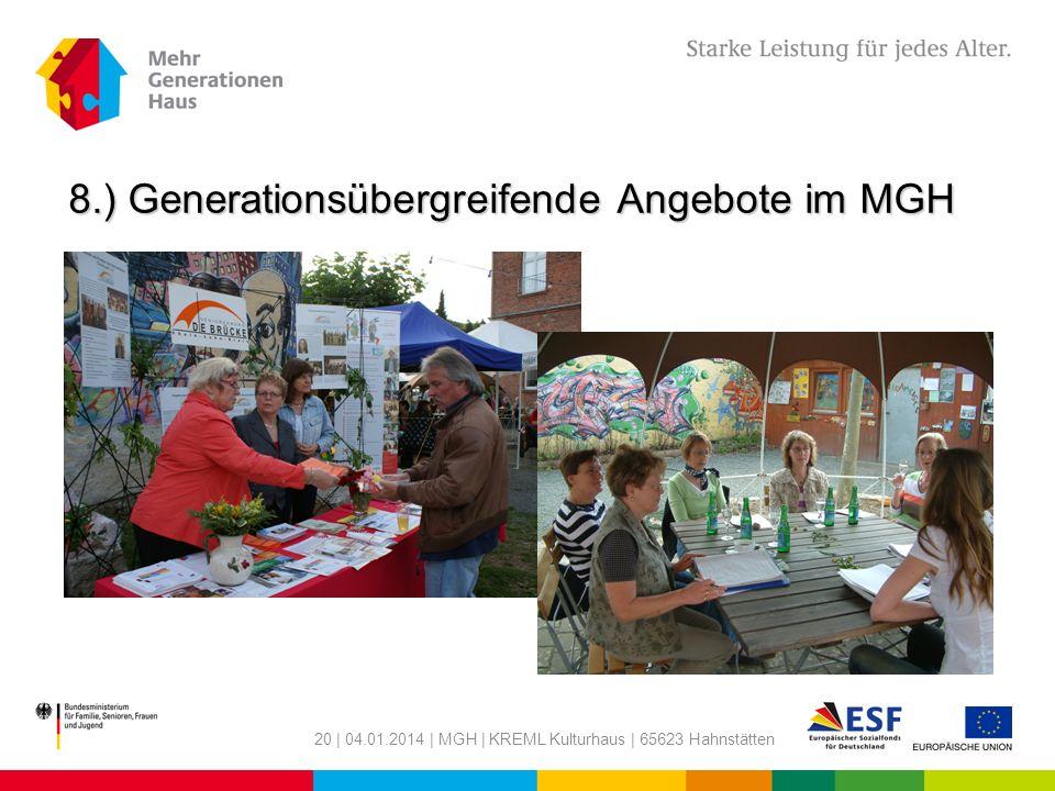 8.) Generationsübergreifende Angebote im MGH
