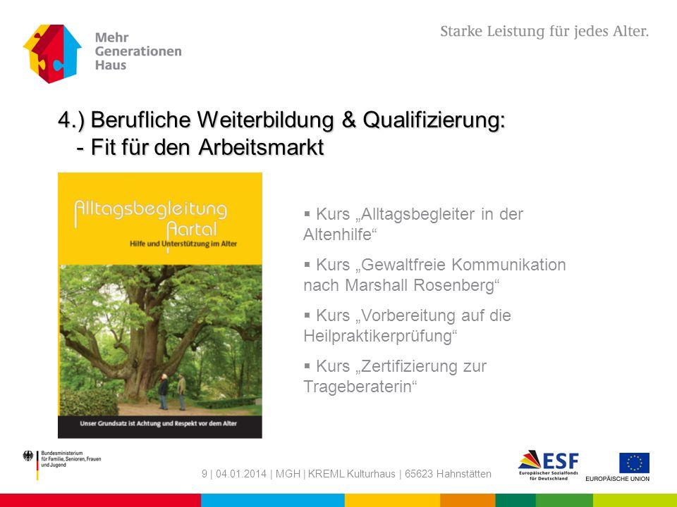 4.) Berufliche Weiterbildung & Qualifizierung: - Fit für den Arbeitsmarkt