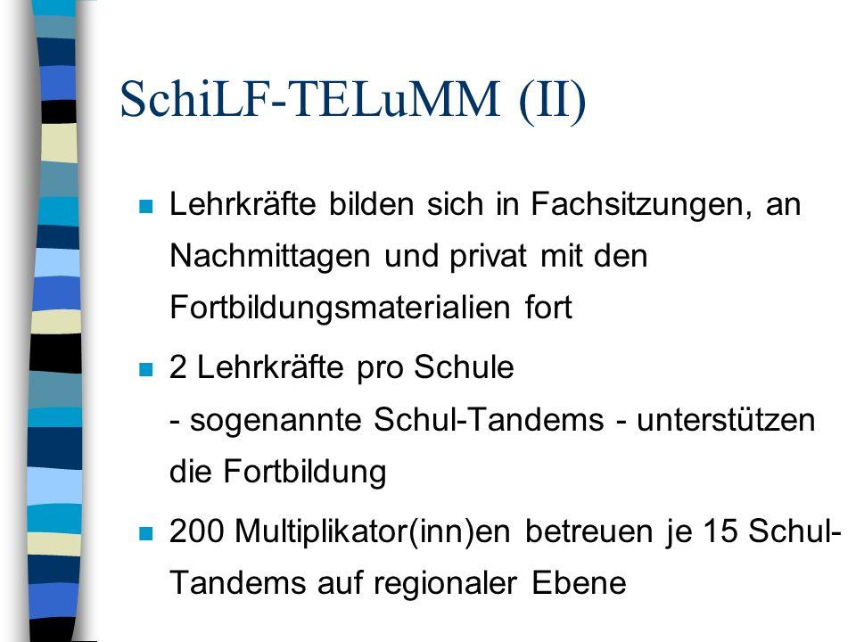 SchiLF-TELuMM (II)Lehrkräfte bilden sich in Fachsitzungen, an Nachmittagen und privat mit den Fortbildungsmaterialien fort.